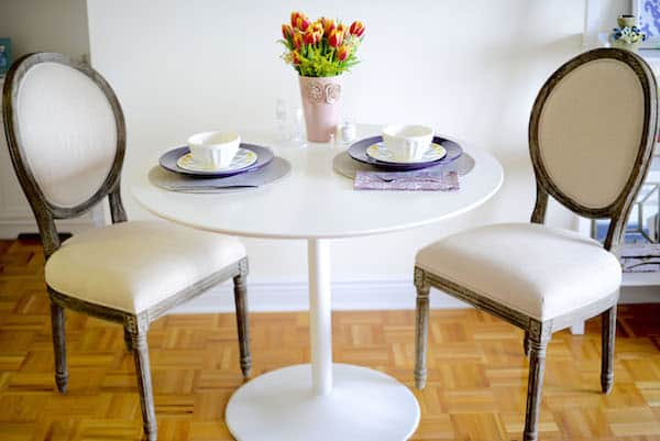 World Market Natural Linen Round Back Dining Chairs