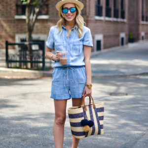 Side Stitch Chambray Romper