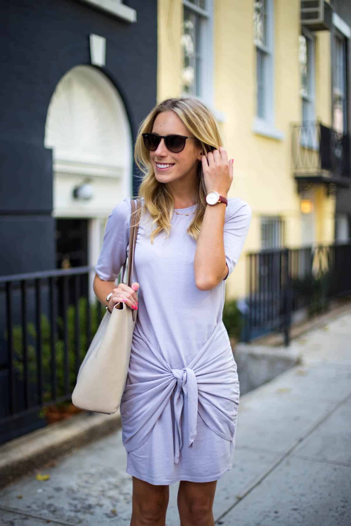 Casual Friday Lavender Faux Wrap T Shirt Dress Katie S