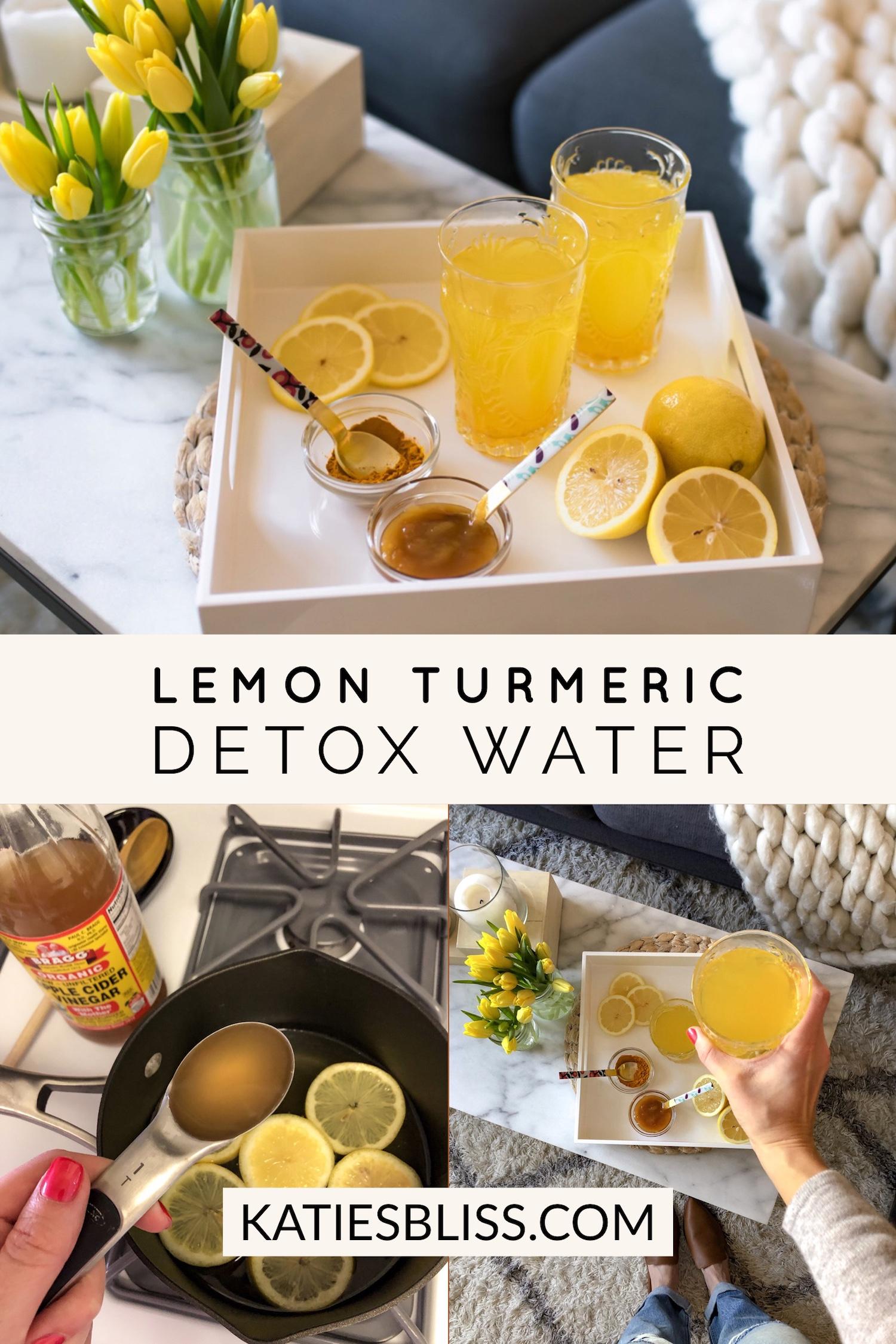 Lemon Turmeric Morning Detox Water Recipe | Katie's Bliss