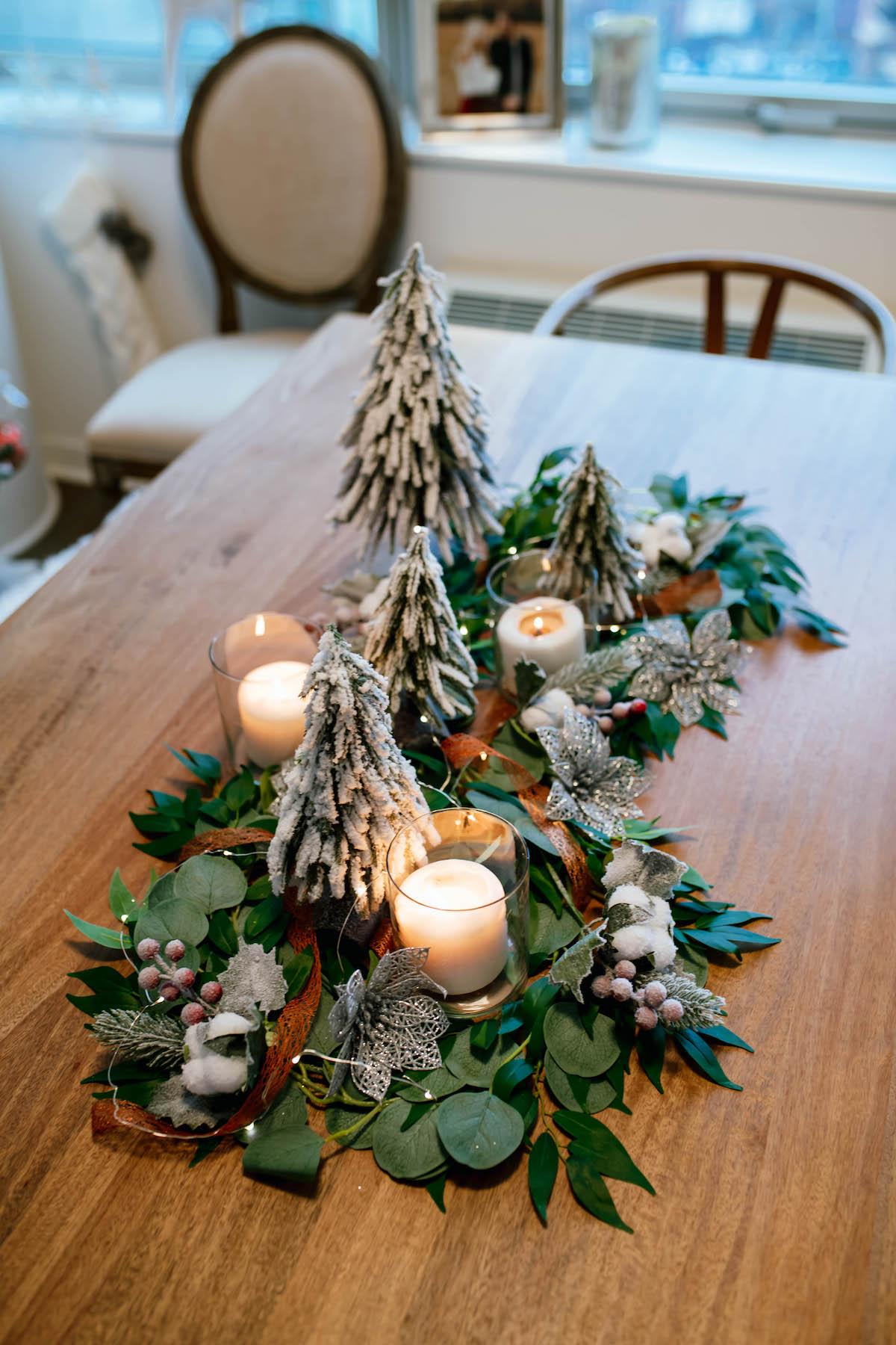 DIY Holiday Greenery Table Runner Garland